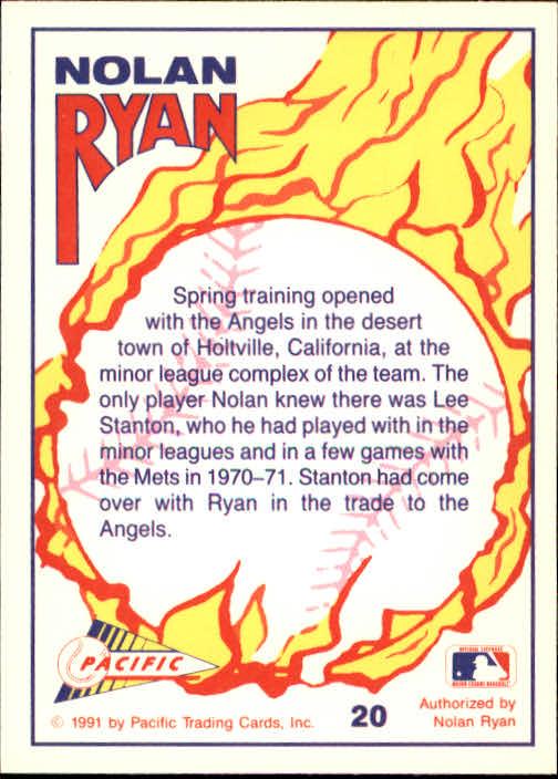1991 Pacific Ryan Texas Express I #20 Nolan Ryan/Meeting New Friends back image