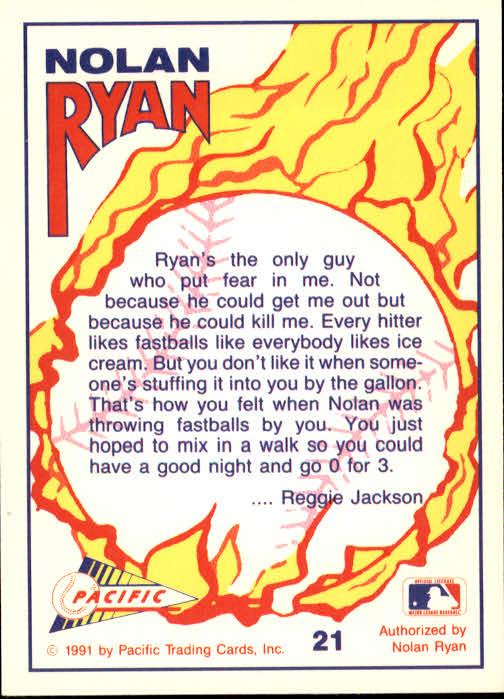 1991 Pacific Ryan Texas Express I #21 Nolan Ryan/Throwing Fast Balls back image