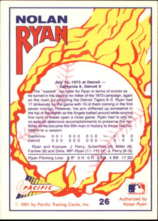 1991 Pacific Ryan Texas Express I #26 Nolan Ryan/No-Hitter Number 2 back image