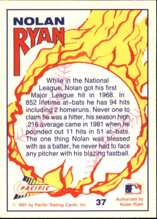 1991 Pacific Ryan Texas Express I #37 Nolan Ryan/Taking Batting Practice back image