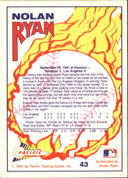 1991 Pacific Ryan Texas Express I #43 Nolan Ryan/No-Hitter Number 5 back image