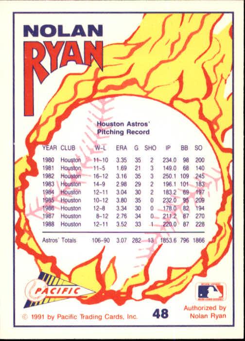 1991 Pacific Ryan Texas Express I #48 Nolan Ryan/Pitcher Houston Astros back image