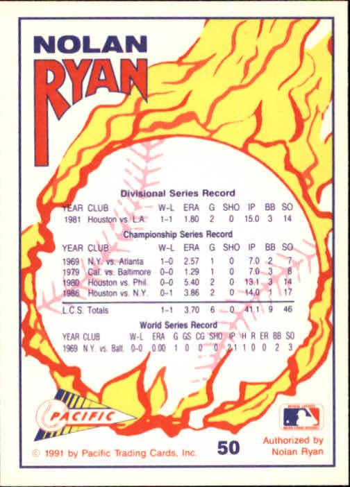 1991 Pacific Ryan Texas Express I #50 Nolan Ryan/Post Season Participant back image