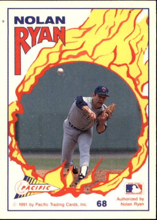 1991 Pacific Ryan Texas Express I #68 Nolan Ryan/Brad Arnsberg/Geno Petralli/300 Game back image