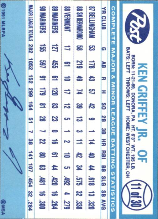 1991 Post #11 Ken Griffey Jr. back image