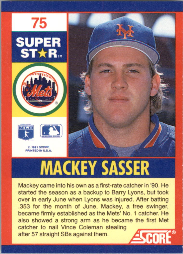 1991 Score 100 Superstars #75 Mackey Sasser back image