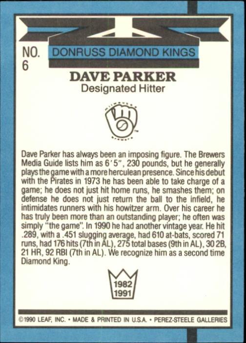 1991 Donruss #6 Dave Parker DK back image