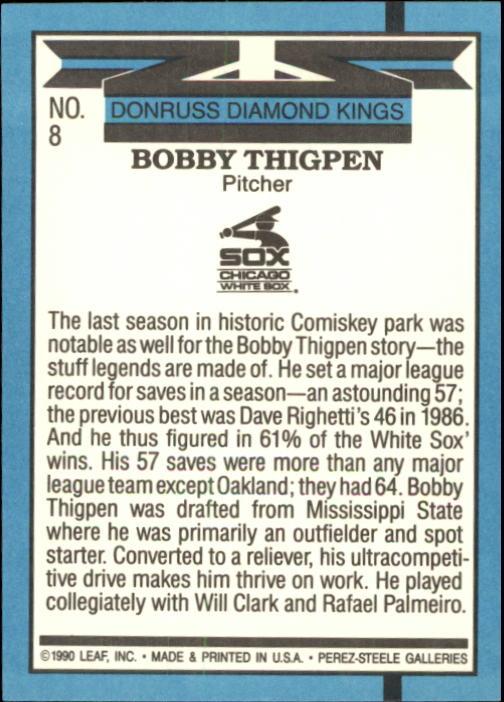 1991 Donruss #8 Bobby Thigpen DK back image