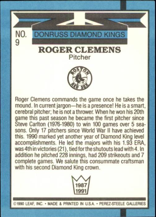 1991 Donruss #9 Roger Clemens DK back image