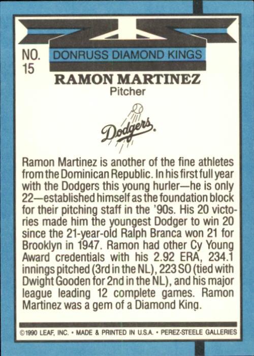 1991 Donruss #15 Ramon Martinez DK back image