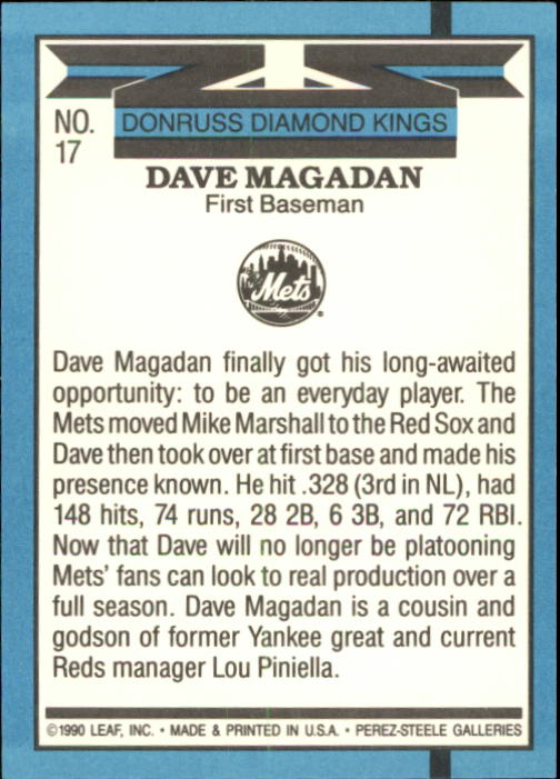1991 Donruss #17 Dave Magadan DK back image