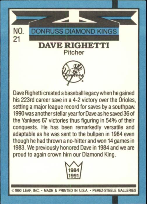 1991 Donruss #21 Dave Righetti DK back image
