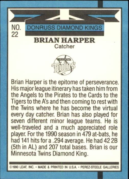 1991 Donruss #22 Brian Harper DK back image