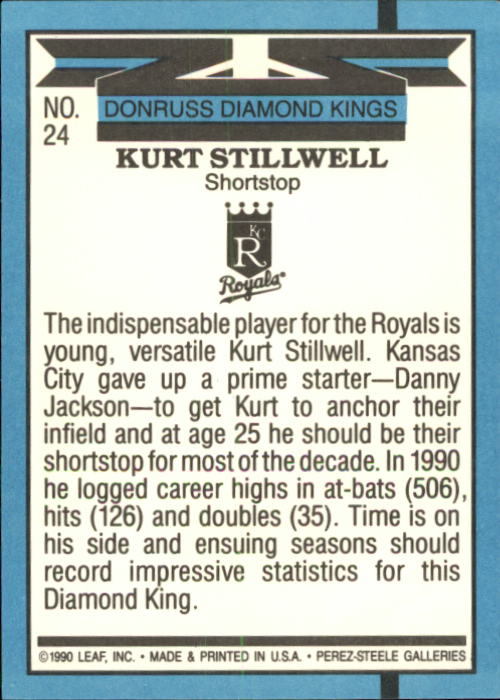 1991 Donruss #24 Kurt Stillwell DK back image