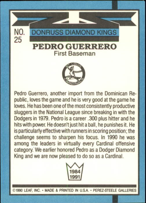 1991 Donruss #25 Pedro Guerrero DK UER/No trademark on/team logo on back back image