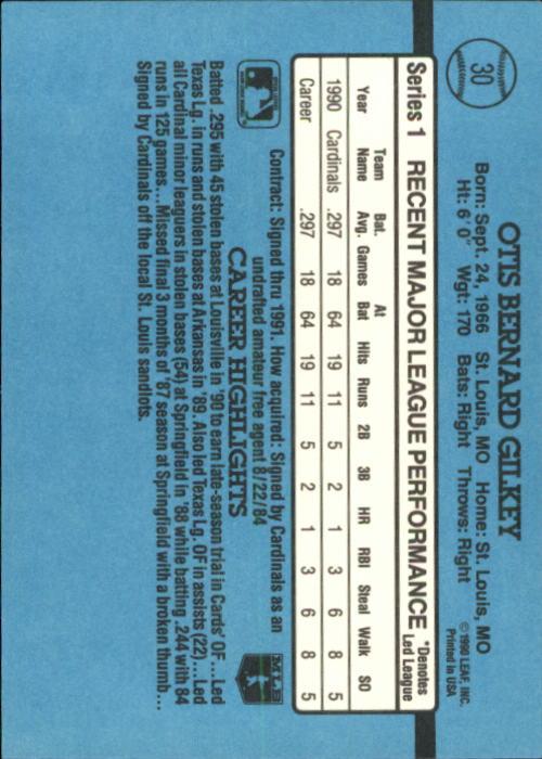 1991 Donruss #30 Bernard Gilkey RR back image