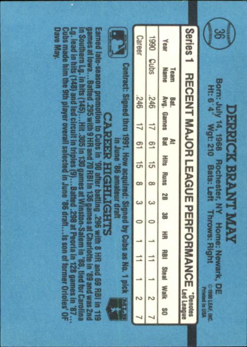 1991 Donruss #36 Derrick May RR back image