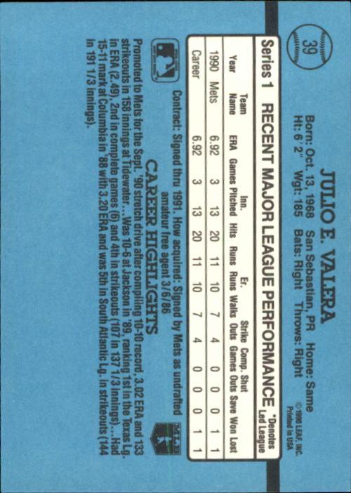 1991 Donruss #39 Julio Valera RR back image