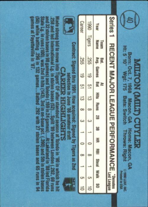 1991 Donruss #40 Milt Cuyler RR back image
