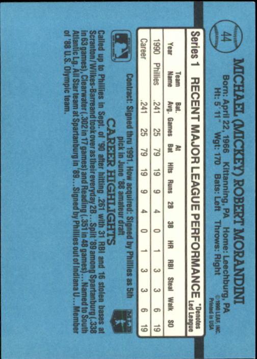 1991 Donruss #44 Mickey Morandini RR back image