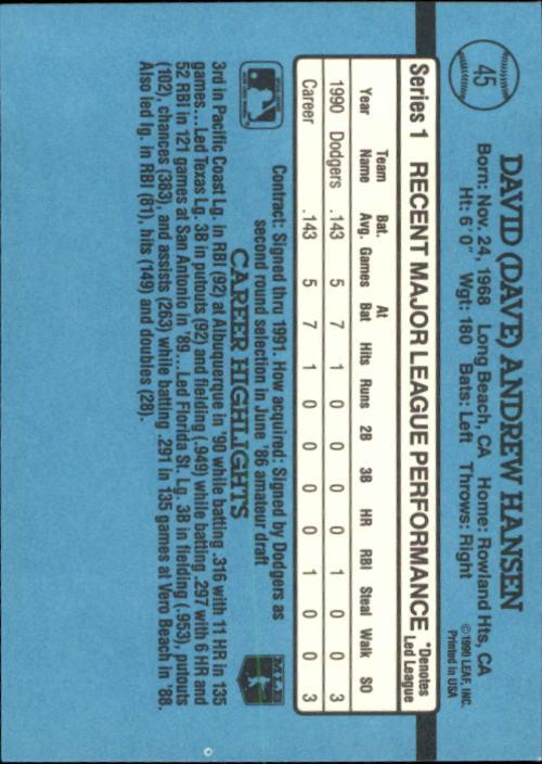 1991 Donruss #45 Dave Hansen RR back image