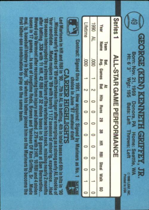 1991 Donruss #49 Ken Griffey Jr. AS back image