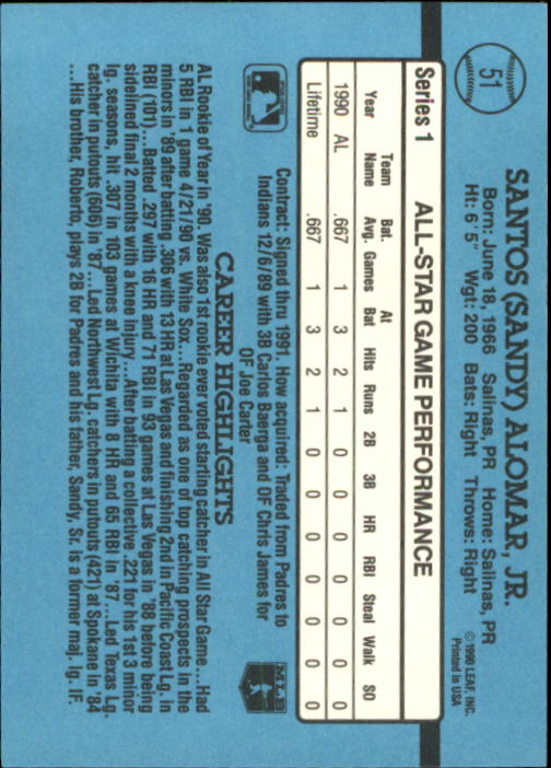 1991 Donruss #51 Sandy Alomar Jr. AS back image