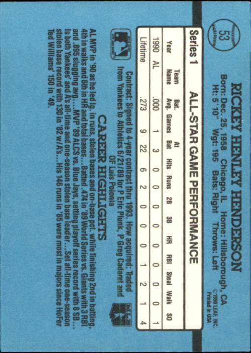 1991 Donruss #53 Rickey Henderson AS back image