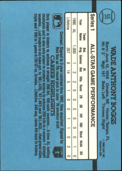 1991 Donruss #55 Wade Boggs AS back image