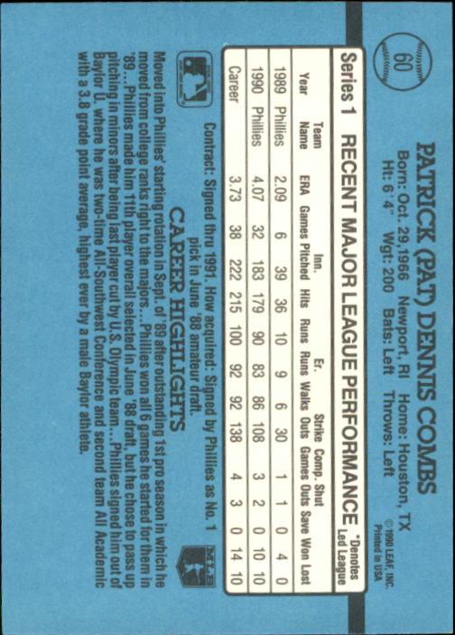 1991 Donruss #60 Pat Combs back image