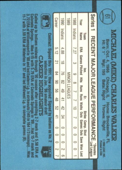 1991 Donruss #61 Mike Walker back image