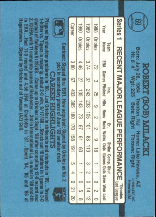 1991 Donruss #69 Bob Milacki back image