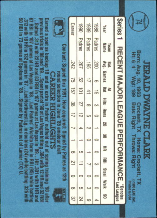 1991 Donruss #74 Jerald Clark back image