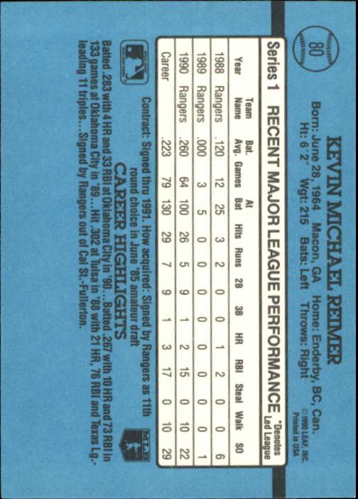 1991 Donruss #80 Kevin Reimer back image