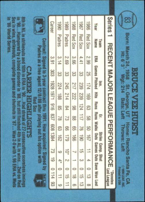 1991 Donruss #83 Bruce Hurst UER/Middle name is/Lee, not Vee back image