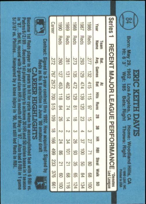 1991 Donruss #84 Eric Davis back image