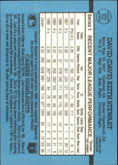 1991 Donruss #102 Dave Stewart back image