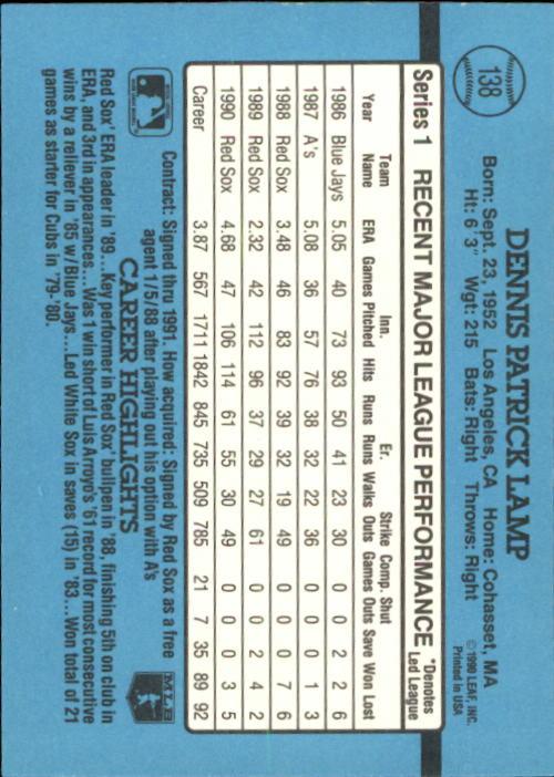 1991 Donruss #138 Dennis Lamp back image