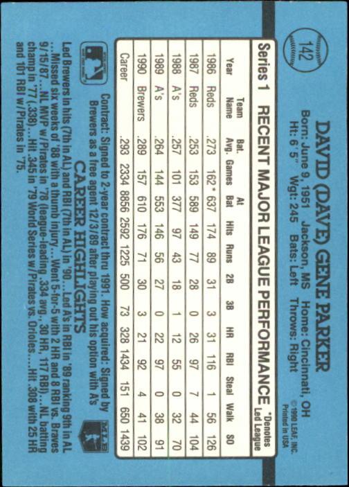 1991 Donruss #142 Dave Parker back image
