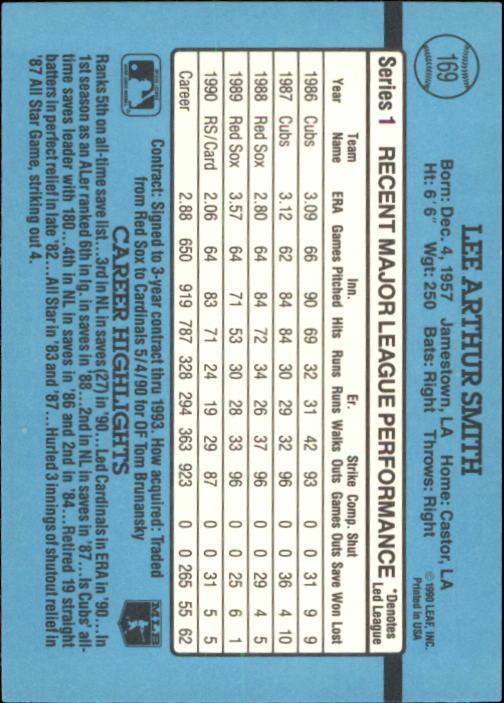 1991 Donruss #169 Lee Smith back image