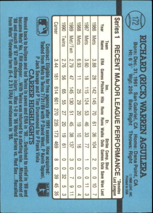 1991 Donruss #172 Rick Aguilera back image