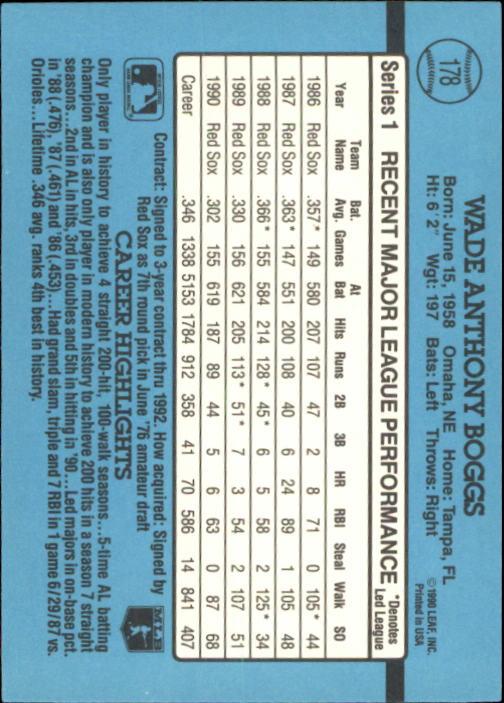 1991 Donruss #178 Wade Boggs back image