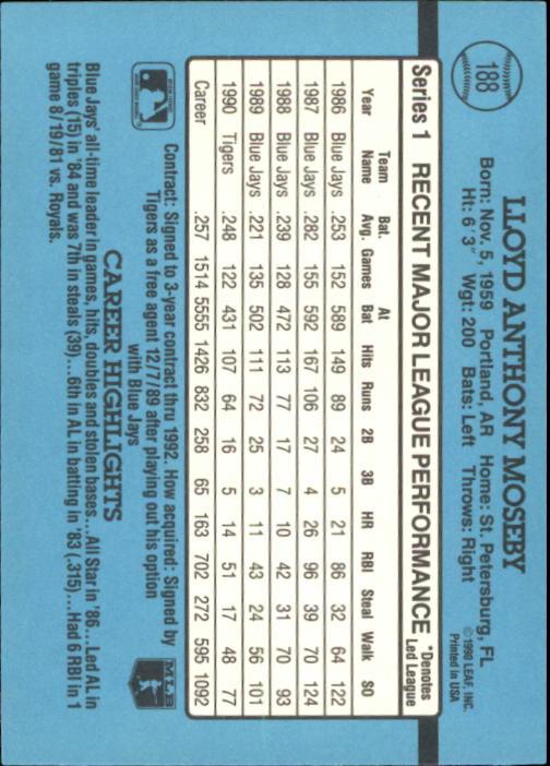 1991 Donruss #188 Lloyd Moseby back image