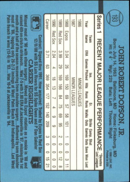 1991 Donruss #193 John Dopson back image