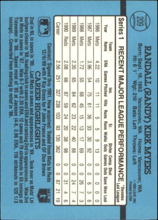 1991 Donruss #209 Randy Myers back image