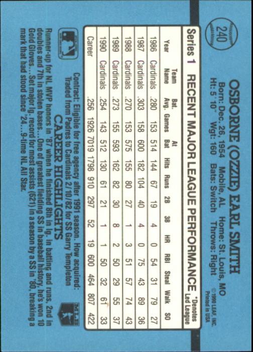 1991 Donruss #240 Ozzie Smith back image
