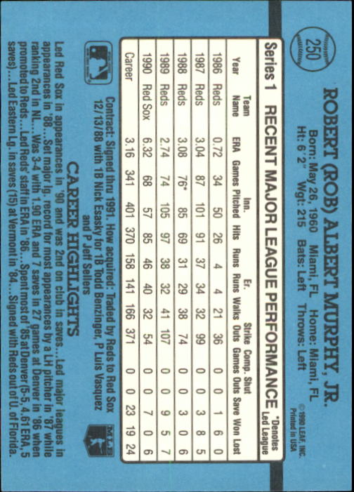 1991 Donruss #250 Rob Murphy UER/Shown as on Reds/in '89 in stats,/should be Red Sox back image