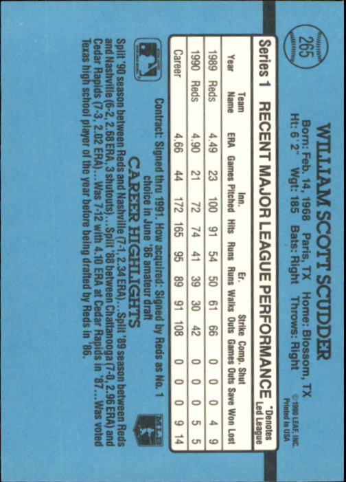 1991 Donruss #265 Scott Scudder back image