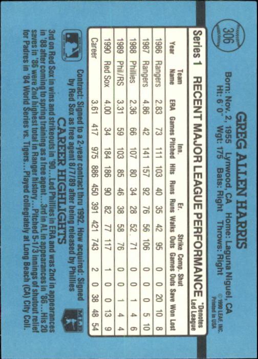 1991 Donruss #306 Greg A. Harris back image