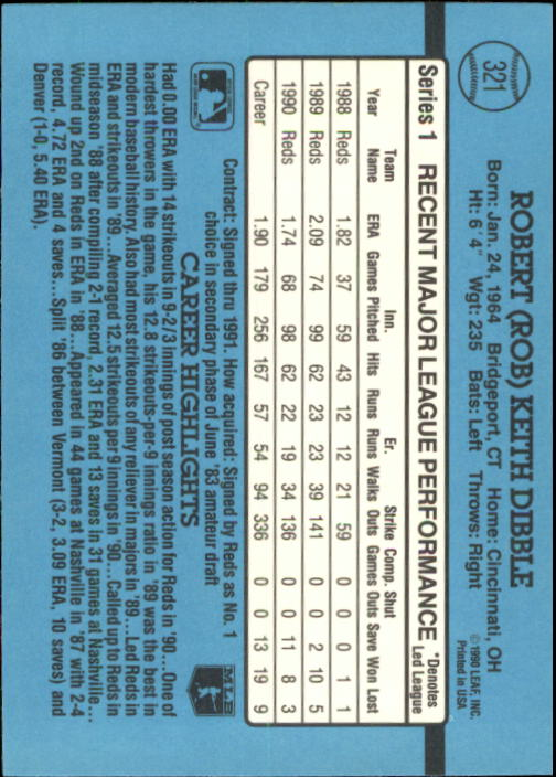 1991 Donruss #321 Rob Dibble back image